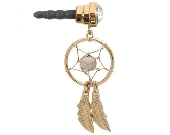 Phone Charm Dust Plug Goldtone DREAM CATCHER Curved Feathers Clear Gem White Bead iPhone Android Galaxy Mobile Ipad Tablet Cell
