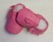 Vegan Hot Pink Faux Leather Baby/ Toddler  Moccasins/ Also in other colors:)