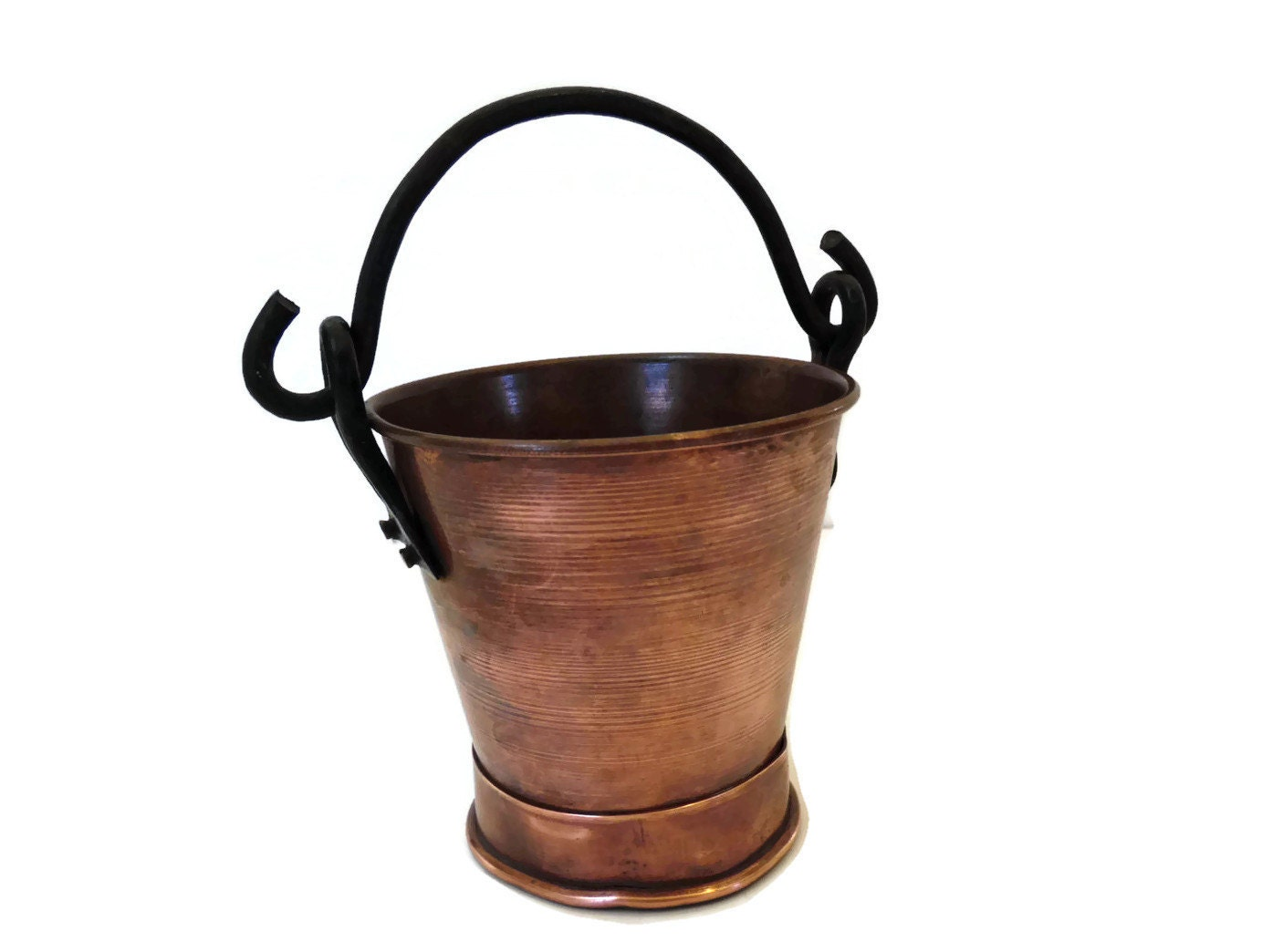 Vintage small copper pail footed bucket with black by for Small pail buckets