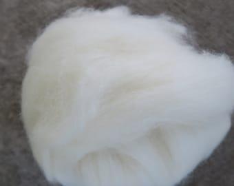 Hand carded pure white alpaca fiber batt