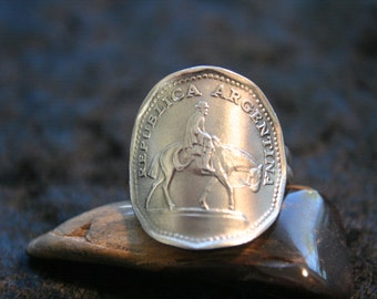 """1963 Argentina 10 Pesos """"Horse and Rider"""" Coin Ring with Sterling Band size 9.."""