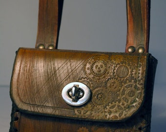 Small belt bag steampunk in boiled lether