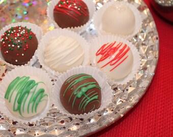 Chocolate Covered Christmas Cake Bites – Assorted Flavors – 1 Dozen