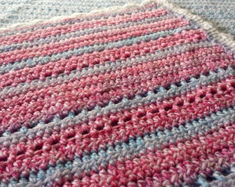 Crochet Baby Afghan, Pink Blanket With Blue Stripes With White Border, Use In Pram, Car, Stroller or Crib.