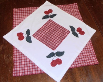 placemat candle mat cherries