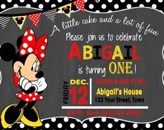 MINNIE MOUSE Birthday, Minnie Invitation, Minnie Birthday Card, 1st Birthday Invitation, Girls Invitation, Polka Dot, Minnie Mouse