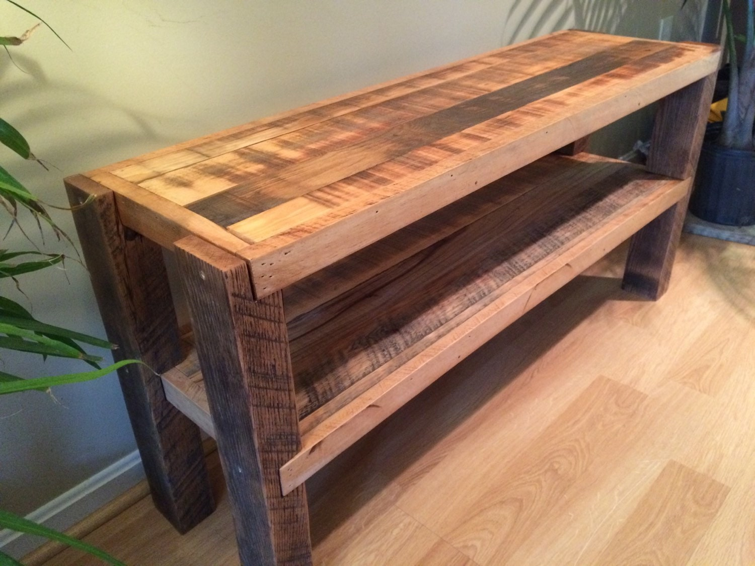 Reclaimed wood notched leg media console tv stand w for Buy reclaimed wood online
