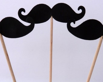 24 Mustache Cupcake Toppers, Black, Little Man, Black Mustache, Baby Shower, Gender Reveal, Bridal, Food Picks, Ships in 3-5 Business Days