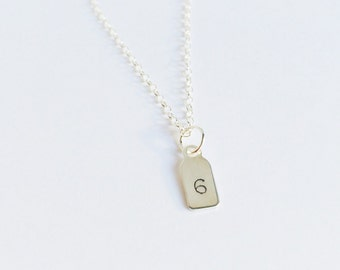silver initial tag - necklace - petite and dainty