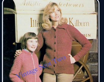 Chunky / Bulky Mother and Daughter Lumber Jacket / Sweater / 24 - 26 & 40 - 42 ins - Argyll 104 - PDF  of Vintage Ladies Knitting Patterns