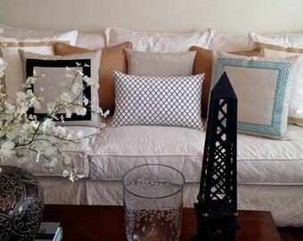 Ivory Pillows, Cream Pillows, Euro Shams, Border Pillows, Neutral Pillows, Bedding,Pillows, Couch Pillows, Invisible Zippers