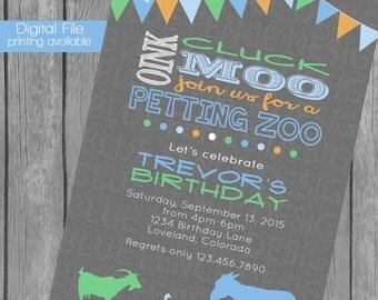 Petting Zoo birthday party invitation, bunting, banner, farm, shabby chic