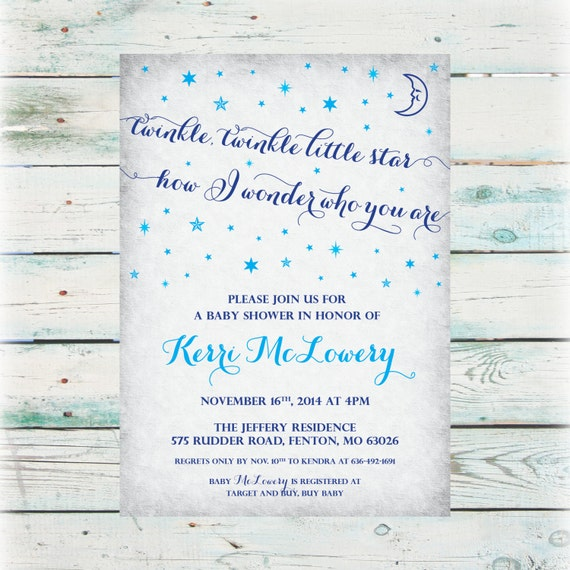 printable twinkle twinkle little star baby shower invitation digital