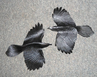 Leather bird - raven wall hanging