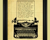 Old Fashioned Typewriter Illustration, F. Scott Fitzgerald Quote Print, Be Who You Want To Be Quote, Literary Wall Art