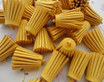 100pcs gold yellow suede Tassel Fiber Tassel Fringe Tassel Charms--35x15mm--TF254