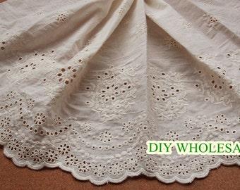 wholesale width 32cm biege lace trim cotton eyelet lace embroidered lace trim for DIY