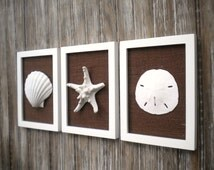 Cottage Chic Set of Beach Wall Art, Bathroom Decor, Beach Decor, Bathroom Art, Wall Art, Coastal Decor, WHITE Wth Chocolate Brown Burlap