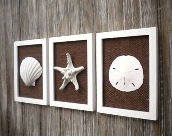 Cottage Chic Set of Beach Wall Art, Bathroom Decor, Beach Decor, Bathroom Art, Wall Art, Coastal Decor, WHITE Wth Chocolate Brown Burlap