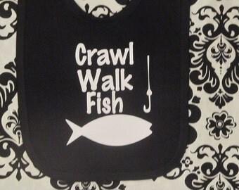 crawl walk fish, fishing bibs, fishing baby presents, fishing baby gift, fishing baby clothes, fishing baby clothing,