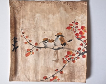 Birds, Vintage Chinese Brush Painting / Chinese Ink Painting of Birds / Bird Painting