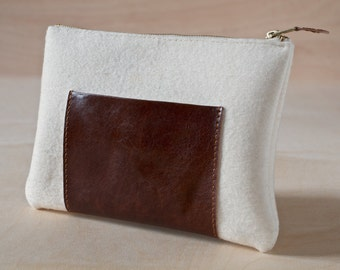 Leather Wool Felt Pouch Hand-made Medium