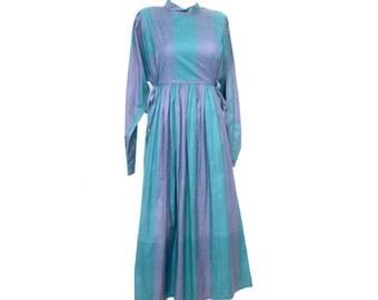 Vintage 70s dress / Hippie dress cotton / Folk dress / M