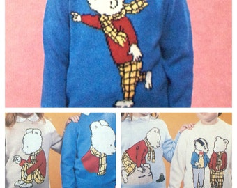 Rupert Bear knitting pattern sweaters for children and adults intasia charts vintage character knitting