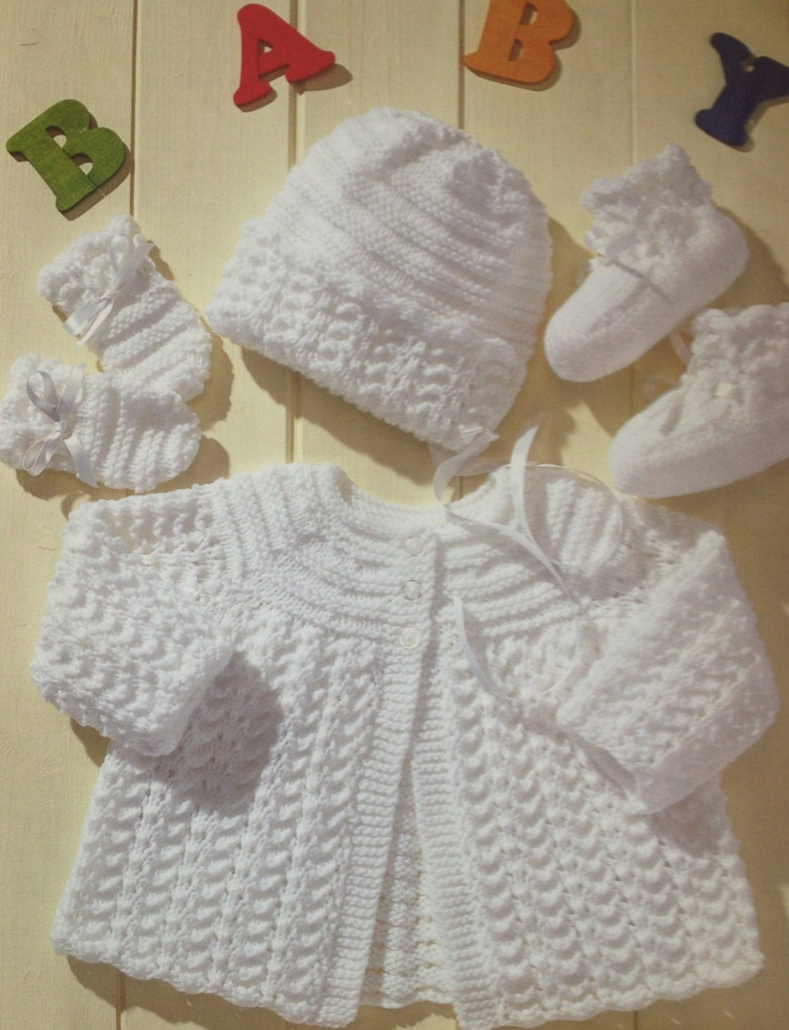 Knitting Patterns For New Baby : baby knitting pattern vintage matinee coat bonnet booties