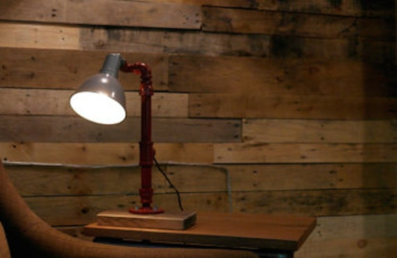 Industrial gas pipe desk lamp table lamp office lamp for Gas pipe lamp