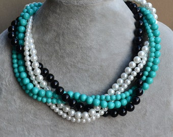 wedding pearl Necklace,turquoise,white,black Glass Pearl Necklace, 5 strands Pearl Necklace,Wedding Necklace,bridesmaid necklace,Jewelry