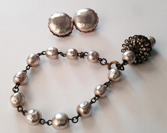 MIRIAM HASKELL Baroque Pearl Set // Bracelet // Earrings