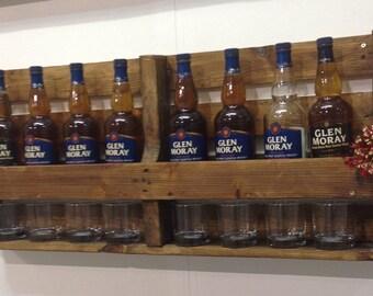 Whiskey bottle rack with glass rack 100cm long