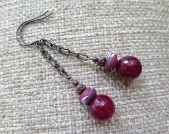 Ruby earrings, cranberry earrings, mulberry earrings, magenta earrings, long earrings, chain earrings, dark pink earrings, fuchsia earrings