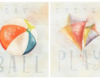 set of two play ball - Kids Wall Decor- Playroom Prints- Nursery Decor-Children's Room Prints