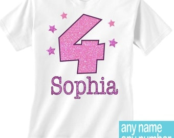 7th birthday girl shirt - any name and age 7 birthday - Pink glittery number