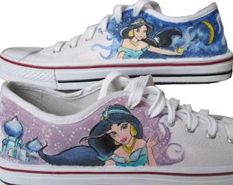 Custom handpainted sneakers, Princess Jasmine Aladdin Fanart Shoes, personalized shoes