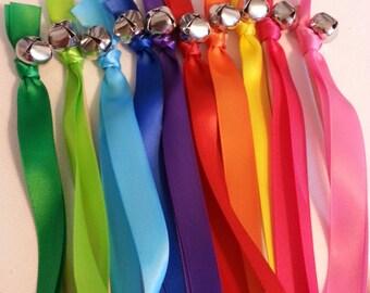 100 Rainbow Wedding Wand Ribbon Bell Streamers ~ RIbbon Bell Wands ~  Rainbow Ribbon ~ Divinity Braid ~ Gay Pride ~