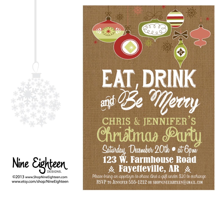 Retro Christmas Party Invitations: Retro Christmas Party INVITATION Eat Drink And Be By