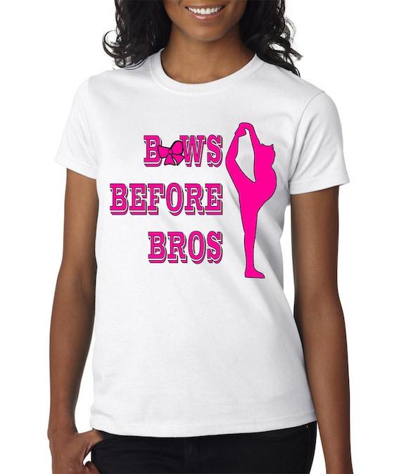 Cheer : Bows Before Bros Shirt Tee Shirt - Funny novelty apparel quote cheerleader cheerleading