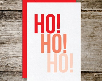 Ho Ho Ho Red Ombre Holiday Card, Instant Digital Download
