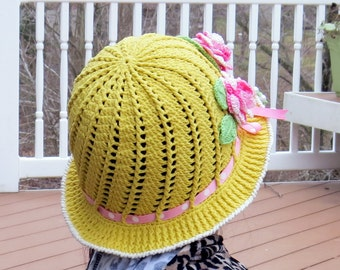 Hand Made Flower Crocheted Panama Hat-Spring Summer hat.