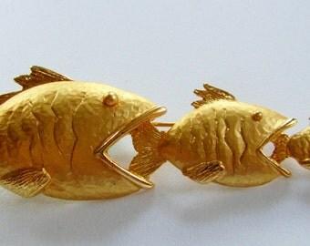 Rare JJ Jonette Three Fish Eating Each Other Brooch