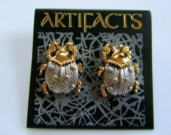 JJ Jonette Silver and Gold Pewter LadyBug Pierced Earrings