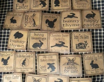 "Set of (22) 3"" Assorted Bunnies Prim Pantry Labels"