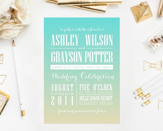 PRINTABLE Wedding Invitation - Beach Wedding Invitation - Gradient Wedding Invitation - Ombre Wedding Suite - Customizable Colors