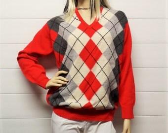Vintage Lyle & Scott LAMBSWOOL Argyle Sweater  Scottland Sz Small-Medium