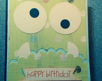 Monster Face Birthday Card
