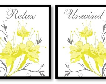 Flower Print Yellow Grey Gray White Flowers Art Print Set of 2 Relax Unwind Wall Decor Modern Minimalist Bathroom Bedroom