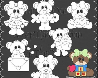 Beary Love Color Me CU Clipart